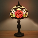 Stained Glass Bronze Nightstand Light Bowl 1 Head Mediterranean Night Table Lamp with Rose Pattern