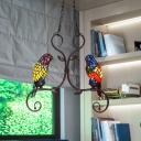 Stained Art Glass Parrot Chandelier Tiffany 2 Heads Bronze Pendant Ceiling Light with Scroll Arm