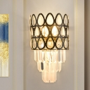 Tapering Crystal Prism Wall Light Mid Century 3 Bulbs Living Room Sconce with Black Drum Cage