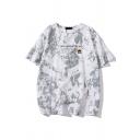 Popular Letter Now Trend Tie-dye Graphic Short Sleeve Crew Neck Loose Fit Tee Top for Men