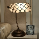 Beaded Nightstand Lighting Mediterranean Cut Glass 1-Light Blue/Yellow Desk Lamp with Pull Chain for Bedside
