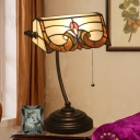 Stained Glass Rollover Shade Desk Light Tiffany Style 1 Head Bronze Pull Chain Table Lighting