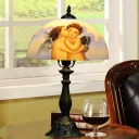 Angel-Painted Glass Dome Night Lamp Vintage 1 Light Bronze Finish Table Lighting for Living Room