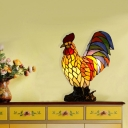 Rooster Table Lighting Victorian Hand Cut Glass 1 Head Coffee Night Light for Bedroom
