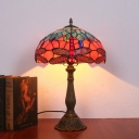 1 Light Bedroom Night Lamp Baroque Bronze Dragonfly Patterned Table Light with Bowl Stained Glass Shade