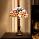 1-Head Night Table Lamp Baroque Stained Art Glass Nightstand Lighting in Bronze with Dragonfly and Flower Pattern