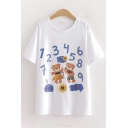Trendy Womens Number Cartoon Bear Graphic Short Sleeve Round Neck Relaxed Fit T Shirt in White