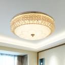 Simple Domed Flush Light Fixture White Glass LED Crystal Ceiling Flush Mount in Gold