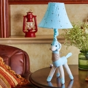 Soft Alpaca Night Stand Light Kid Fabric 1-Light Blue/Grey Table Lamp with Flared Fabric Shade