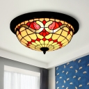 Baroque Wide Bowl Flushmount Lighting Handcrafted Stained Glass LED Ceiling Light in Black
