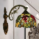 Grapes and Vine Wall Light Fixture 1 Bulb Red/Green Cut Glass Tiffany Sconce Lamp for Bedroom