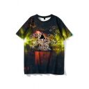Letter Astro World Cartoon Graphic Short Sleeve Crew Neck Chic Relaxed Tee for Men