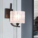 1-Light Clear Crystal Sconce Lamp Retro Black Drum/Trapezoid/Bell Bedroom Wall Mounted Lighting Fixture