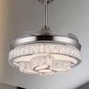 2-Layer Crystal Block Ceiling Fan Light Modernism 42.5