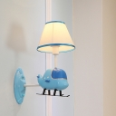 Blue Helicopter Wall Mounted Lamp Kids 1-Light Resin Sconce Light Fixture with Tapered Fabric Lampshade