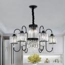 Crystal Prism Cylinder Ceiling Chandelier Modernism 6-Bulb Black Finish Suspension Light