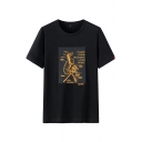 Street Boys Letter Planst Earhe Graphic Short Sleeve Crew Neck Relaxed Tee Top
