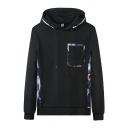 Mens Trendy Chest Pocket Pattern Panel Long Sleeve Drawstring Relaxed Fit Hoodie