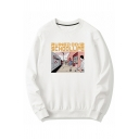 Cool Boys Letter Ruined Schoollife Cartoon Graphic Long Sleeve Crew Neck Loose Fit T Shirt