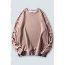 Stylish Mens Letter Printed Long Sleeve Crew Neck Oversize Pullover Sweatshirt