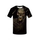 Street Boys Skull 3D Printed Short Sleeve Crew Neck Loose T-shirt in Black