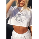 Lovely Womens Cat Letter Such Cute Pattern Short Sleeve Crew Neck Relaxed Fit Cropped Tee Top