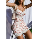 White Classic All-over Floral Pattern Lace Panelled Spaghetti Neck Mini Slip Dress for Women