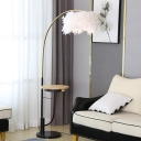 Feather Drum Reading Floor Lamp Modern 1-Light White Floor Light with Wood Shelf and Arched Arm