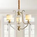 3 Heads Chandelier Lighting Rural Urn Frame Crystal-Bead Coated Pendant Lamp in Gold with Cylinder Fabric Shade