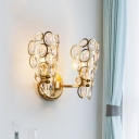 Gold 2 Heads Wall Mounted Lamp Mid Century Faceted Crystal Bubble Sconce Lighting Fixture