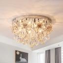 Flower Crystal Chrome Flush Light Fixture Tapered 6 Lights Modernist Flush Mount Ceiling Lamp