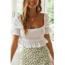 Pretty Ladies Puff Sleeves Square Neck Pleated Ruffled Trim Fitted Crop Top in White