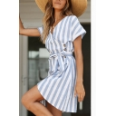 Fashionable Womens Stripe Printed Short Sleeve Surplice Neck Bow Tie Waist Short Wrap Dress