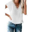 Stylish Ladies Solid Color Short Sleeve Lace Trim V-neck Relaxed T Shirt