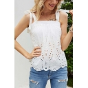 Fancy Girls Hollow out Bow Tie Shoulder Irregular Hem Relaxed Fit Cami Top in White