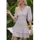 Amazing Womens Ditsy Floral Printed Half Sleeves V-neck Ruffled Trim Short A-line Dress in Pink