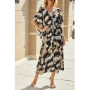 Womens Allover Flower Printed Bell Sleeves V-neck Button up Bow Tie Waist Slit Front Long A-line Holiday Dress