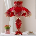 Fabric Red Table Lamp Ruffle 1 Light Pastoral Style Nightstand Light with Lace Ornament