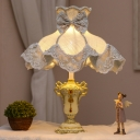 Single Nightstand Light Country Victorian Dress Fabric Table Lamp with Lace Trim in Blue