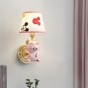 Smiling Dragon Resin Wall Sconce Cartoon 1 Head Pink Wall Mounted Light with Tapered Fabric Shade