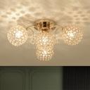 Crystal Gold Semi Flush Light Dome 4/6/9 Lights Contemporary Flush Mount with Sputnik Design
