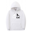 Exclusive Letter Fusion Cartoon Graphic Long Sleeve Drawstring Sherpa Liner Loose Fit Hoodie with Pocket