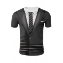 Fake Two Piece Suit 3D Pattern Short Sleeve Crew Neck Slim Fit Stylish Tee Top in Black
