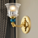 1 Light Clear Ribbed Glass Wall Light Fixture Retro Gold Flared Wall Lamp with Angled Arm