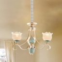 Curvy Dining Room Chandelier Rustic Clear Ribbed Glass 3/5/6 Lights Gold Drop Lamp with Petal Clear Ribbed Glass Shade