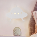 Wood Panel Airship Sconce Lighting Cartoon LED White Wall Mount Lamp Fixture for Kids Bedroom