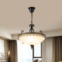 3 Heads Chandelier Country Bedroom Living Room Pendant Light with Bowl White Glass Shade