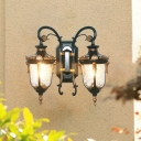2-Light Aluminum Wall Mount Lamp Vintage Copper/Black and Gold Curving Outdoor Sconce with Urn Clear Honeycomb Glass Shade