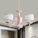 3/6 Heads Bedroom Hanging Lamp Macaron Pink/Blue Finish Ceiling Chandelier with Drum Fabric Shade