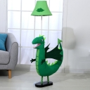 Dinosaur Fabric Standing Floor Light Cartoon 1-Bulb Green Stand Up Lamp for Kids Bedroom